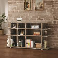 coaster 800848 distressed wood open bookcase with silver metal accents