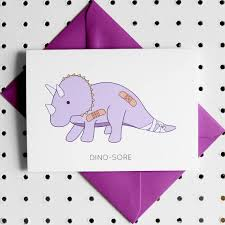 get well soon cards dino sore dinosaur get well soon greeting card by