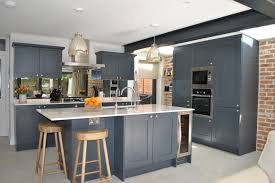 slate blue painted kitchen cabinets modern shaker kitchen in slate blue against the brick