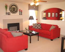 small living room accent wall ideas with red and grey furnishing