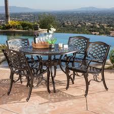 Christopher Knight Patio Furniture Reviews Hallandale Sarasota Cast Aluminum Bronze 5 Piece Outdoor Dining