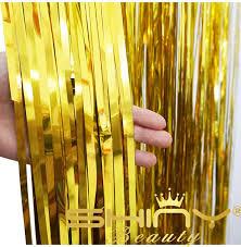 Gold Metallic Curtains Shinybeauty Foil Curtain 3x10ft Gold Metallic Door Window Curtain
