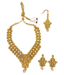 gold stones necklace designs images My design gold plated ad stone necklace set with maang tikka for jpg