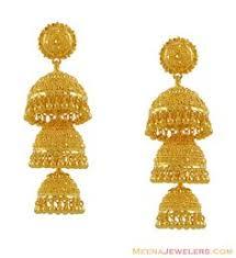 jhumki style earrings in gold 22k gold fancy jhumka earring for meenajewelers indian calcutti