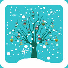 winter background colored tree and baubles decoration