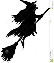 silhouette of witch flying on broom stock vector image 43934079