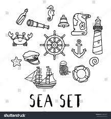 hand drawn doodle sea set vector stock vector 615042497 shutterstock