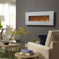 Electric Wall Mounted Fireplace Touchstone Ivory 50 Inch Electric Wall Mounted Fireplace White 80002