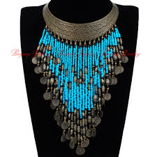 bib necklace beaded images Vintage retro gold hoop resin seed beads tassels statement pendant jpg
