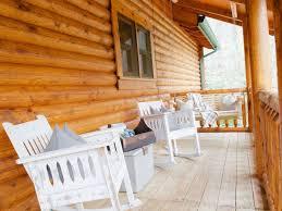 designer log cabin outdoor fire pit resort amenities sapphire