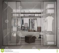 glass slide doors classic walk in closet with glass sliding doors stock illustration