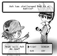 Pokemon Trainer Red Meme - red vs ash by aeveternal on deviantart