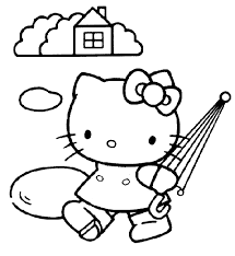 kitty with umbrella coloring sheet picture