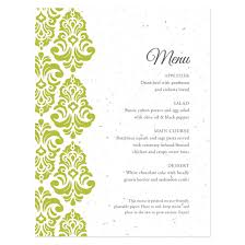 plantable classic damask menu card plantable seed wedding menu