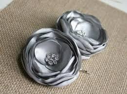 ladies hair pieces for gray hair grey flower hair clips silver wedding hair accessory gray