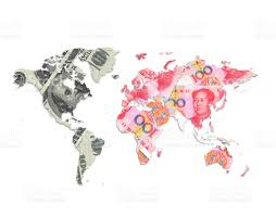 China World Map by Us Dollar Vs China Yuan Currency World Map Stock Photo 513474932