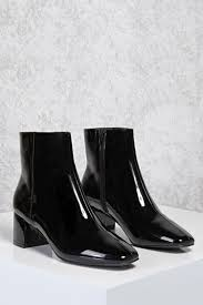 patent faux leather ankle boots forever21