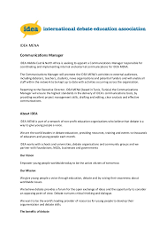 Seeking Description Description Idea Mena Communications Manager 0