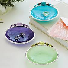 art glass dish ring holder images Birth month mini dish glass gem jewelry holder uncommongoods jpg