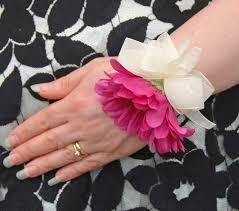 Wedding Wrist Corsage Artificial Silk Cerise Pink Gerbera Wedding Wrist Corsage