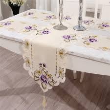 table runner placemat set flower embroidered polyester home kitchen dining tablecloths set