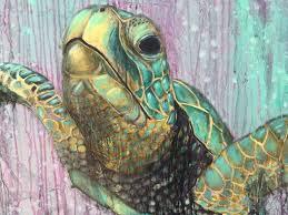 sea turtle original large painting by artist rafi perez mixed
