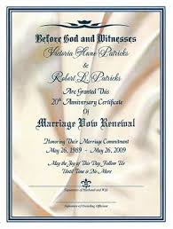 vow renewal ceremony program in golden reverence marriage vow renewal certificate