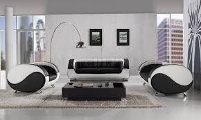 White Leather Living Room Set Black White Leather 3pc Modern Artistic Living Room Set