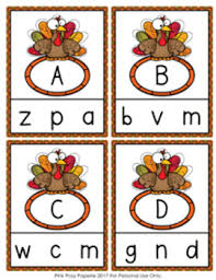 thanksgiving turkey letter match clip cards by pink posy paperie