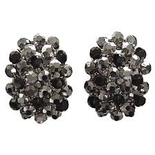 black earrings studs black diamante pave oval large stud earrings dressy jewellery studs uk