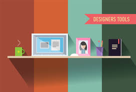 designers table with tools vector illustration photoshop