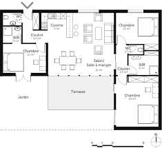 plan maison plain pied 3 chambres en u