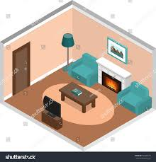 living room design interior lounge isometric stock vector