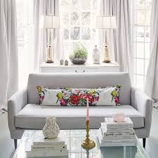 Square Acrylic Coffee Table Bay Window With Gray Curtains Transitional Living Room
