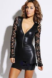 2015 women black leather bodycon fashion leather bandage dress