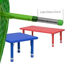 flash furniture 24 x 48 height adjustable rectangular blue plastic