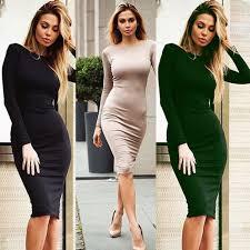 women casual long sleeve back zip closure bodycon dress night club