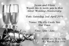 Silver Anniversary Invitation Cards Personalised Invitations Silver Wedding Anniversary 25th