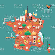 A Map Of France by Map Of France Vector Illustration Design Icons With French Symbols