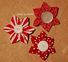 prairie point and yo yo fabric ornaments chicken scratch ny
