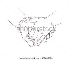 continuous line drawing holding hands together stock vector