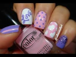 pink u0026 purple valentines nail art youtube