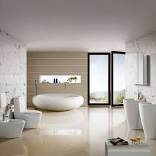 double sink egg shaped tub in modern bathroom design with sink and