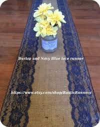 cobalt blue table l rustic burlap and dark navy lace table runner for wedding