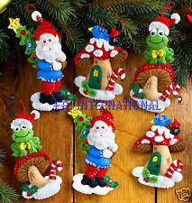 bucilla felt applique embroidery kit gnome ornaments set of 6