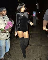 rihanna jumpsuit rihanna black velvet jumpsuit ober the knee boots fashion