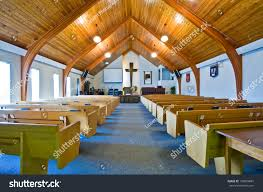church ceilings interior simple church vaulted wooden ceiling stock photo