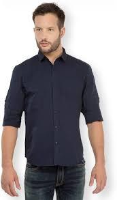 highlander men u0027s solid casual dark blue shirt buy navy blue