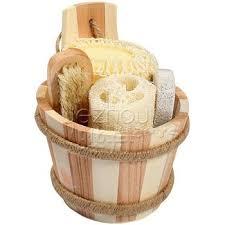 natural wooden bucket bathroom accessory set buy bathroom