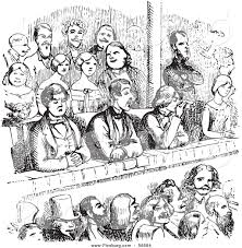 clip art of a retro sketch of vintage people in a theater in black